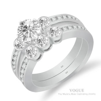 3 Stone Ring With Diamond Accents