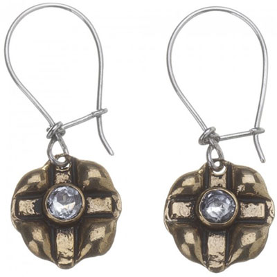 Waxing Poetic - Stamped Cross Earrings Brass
